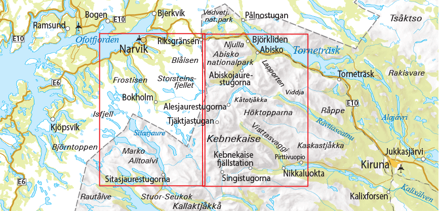 Karta Riksgransen Abisko.Abisko Kebnekaise Nikkaluokta 1 75 000 Outdoorkartan Outdoor Maps