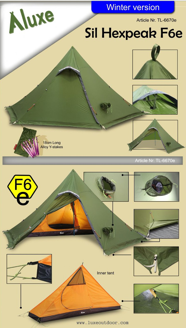 Luxe Outdoor Sil Hexpeak F6e Ultralight Series