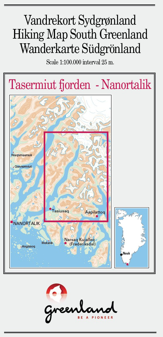 N° 5 - Tasermiut fjorden/Nanortalik –South Greenland - Hiking Map – 1 :100 000