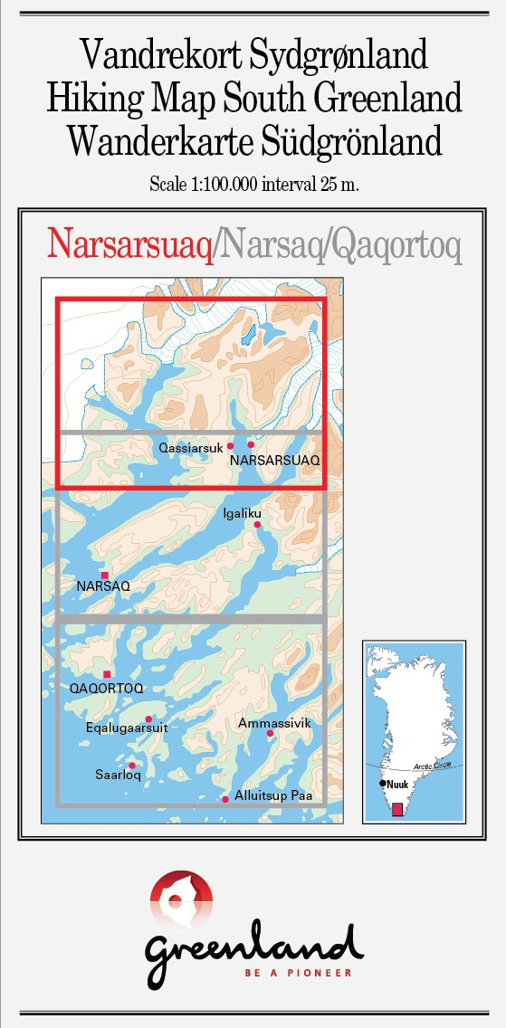 N° 1 - Narsarsuaq – South Greenland Hiking Map – 1 :100 000