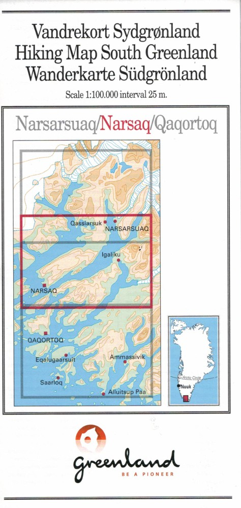 N° 2 - Narsaq –South Greenland Hiking Map – 1:100 000
