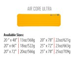 Dimensions Big Agnes Air Core Ultra